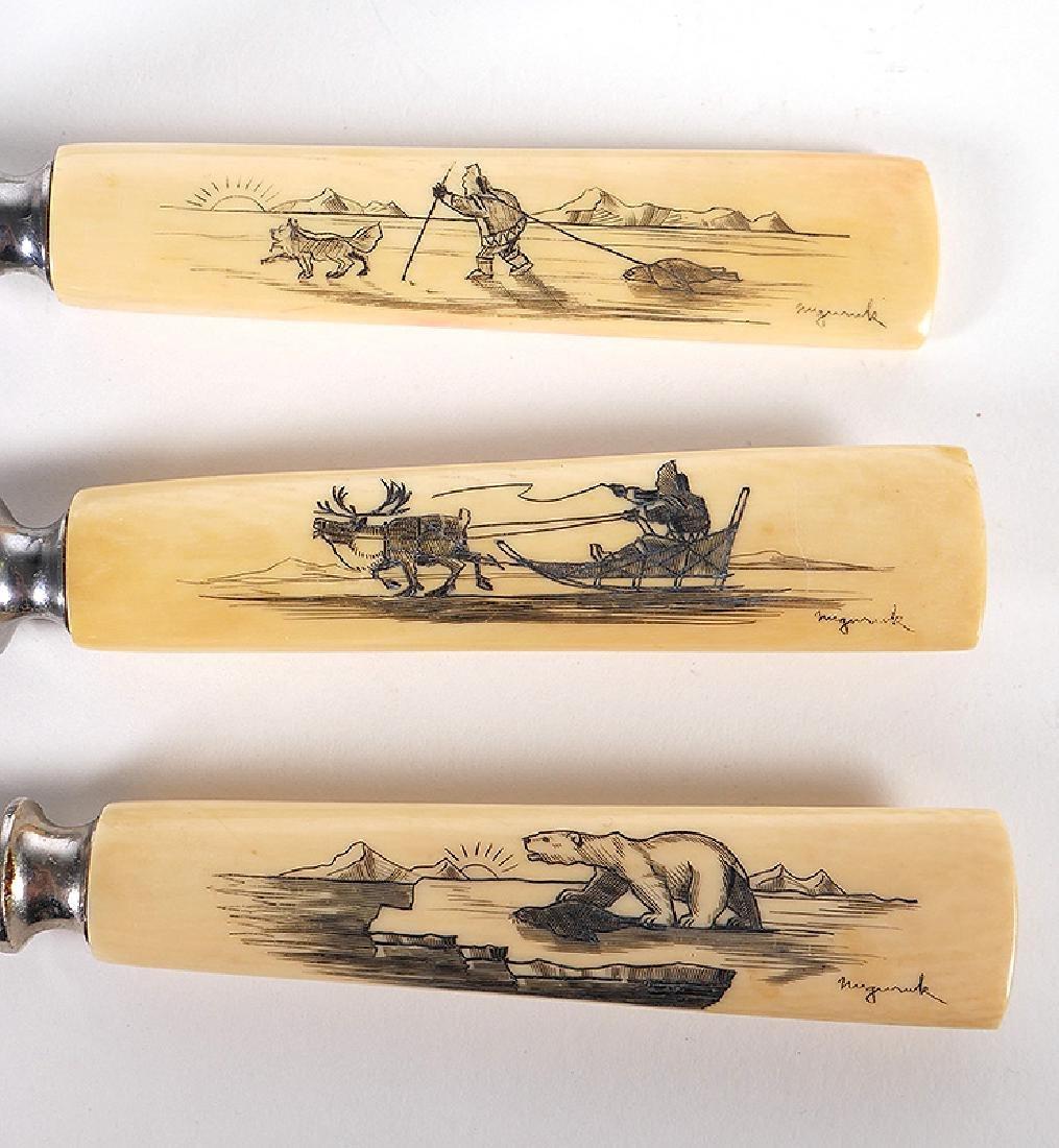 Inuit Scrimshaw Utensils Knives Nuguruk 11-Pieces - 2