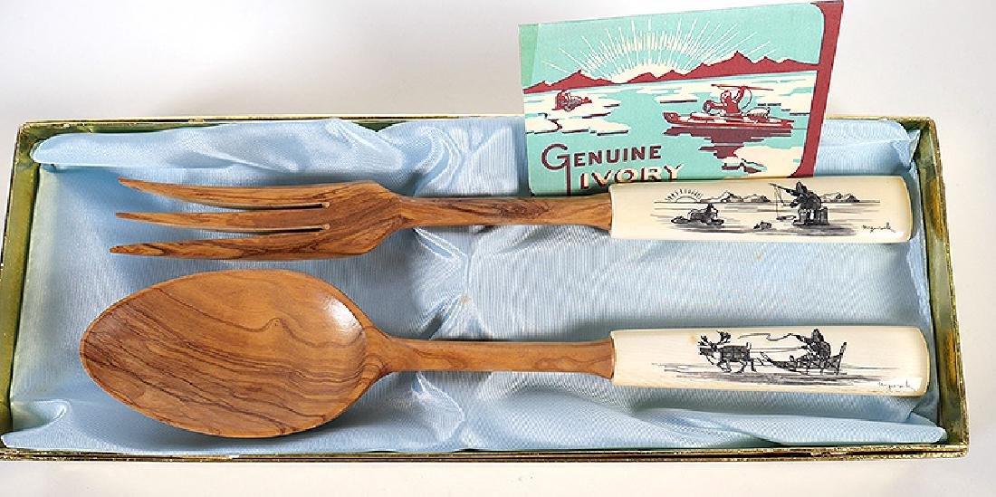 Inuit Scrimshaw Utensils Knives Nuguruk 11-Pieces - 5