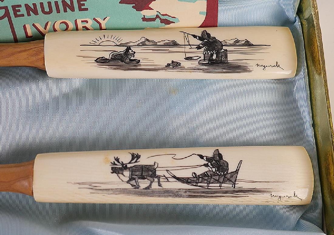 Inuit Scrimshaw Utensils Knives Nuguruk 11-Pieces - 6