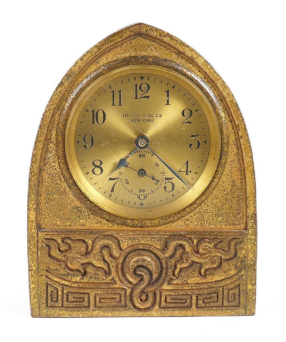 Tiffany Studios Bronze Oriental Pattern Desk Clock
