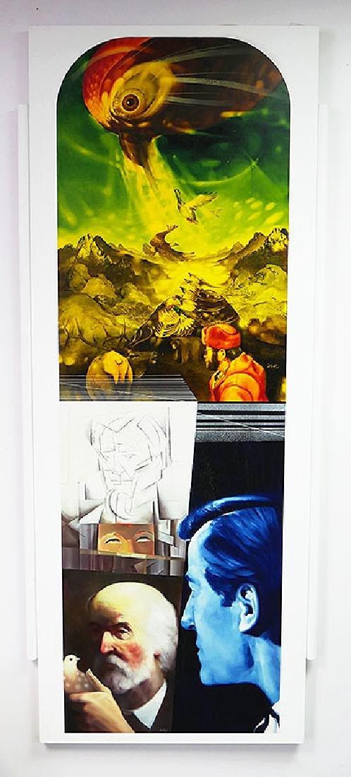 ZABOJ B KULHAVY Large Mixed Media Painting 32x78