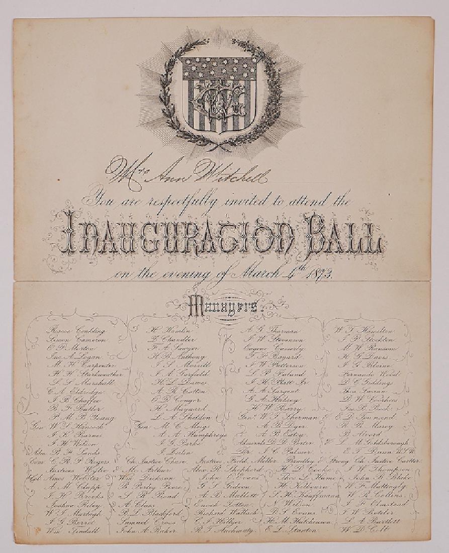 1873 Inauguration Ball Invitation Ulysses S Grant
