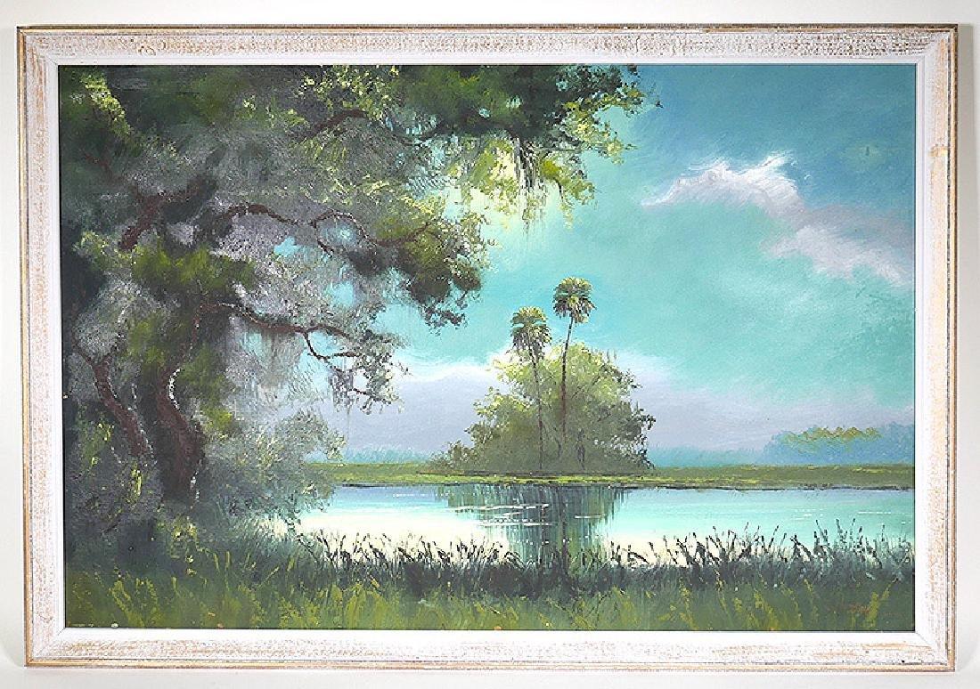 SAM NEWTON Highwayman Florida Oil Board Painting