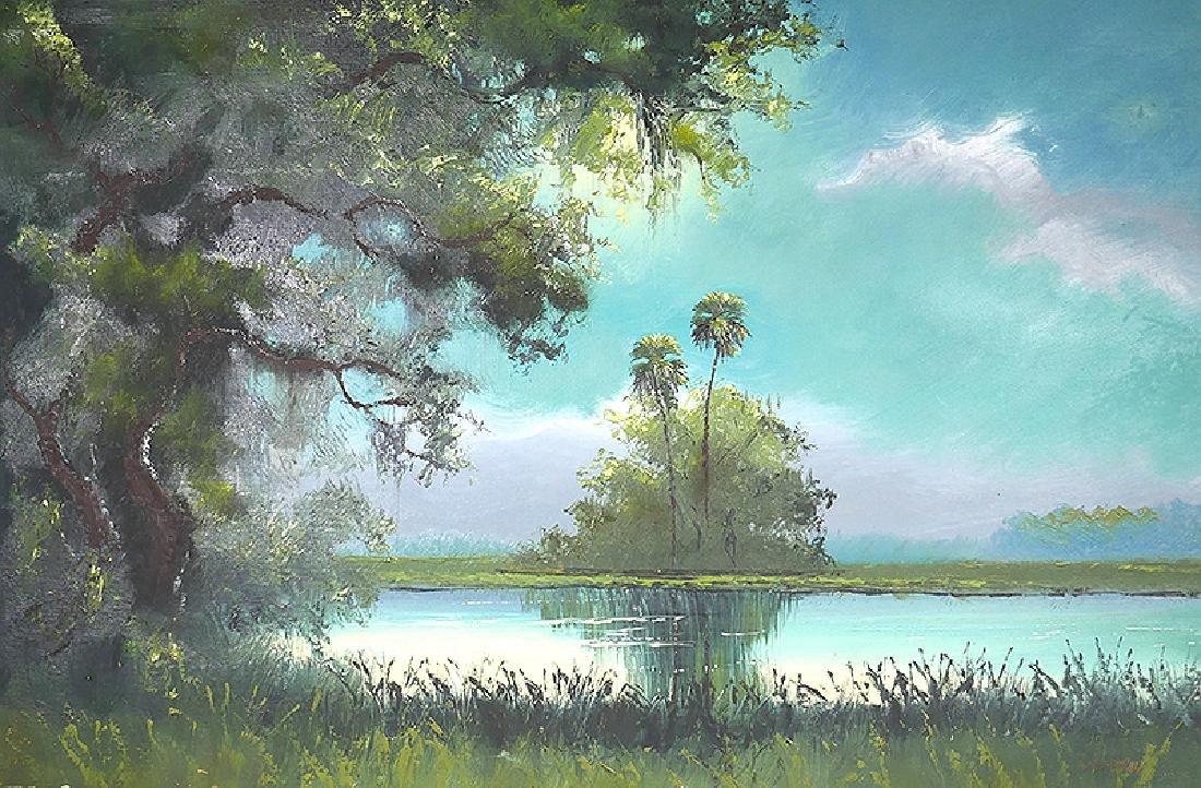 SAM NEWTON Highwayman Florida Oil Board Painting - 2