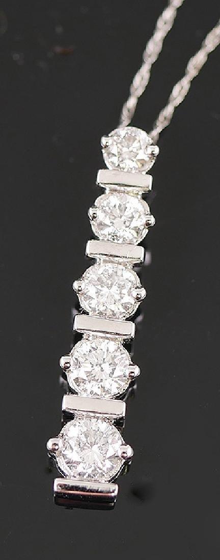 14k White Gold Diamond Pendant w Chain