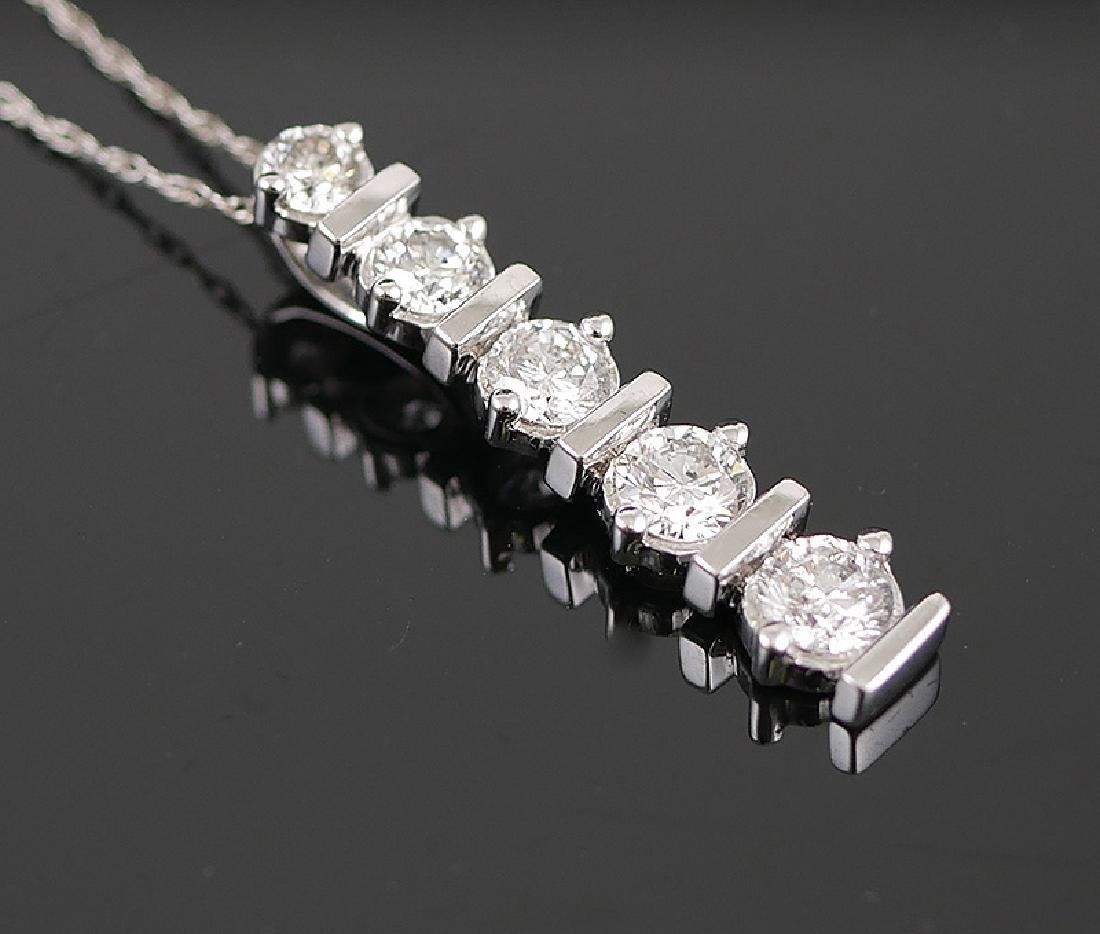14k White Gold Diamond Pendant w Chain - 2