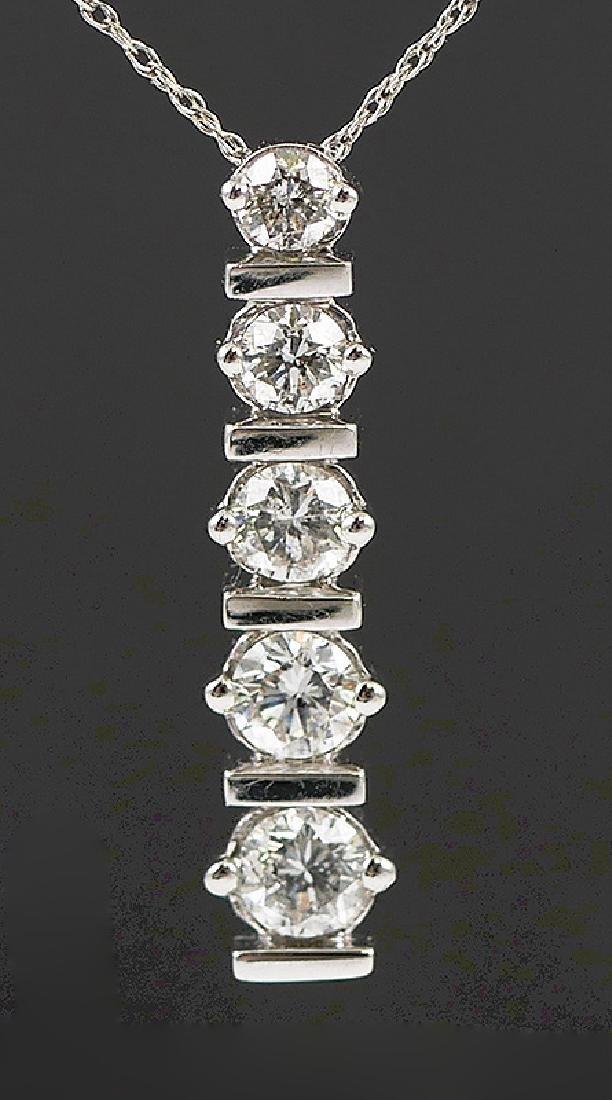 14k White Gold Diamond Pendant w Chain - 4