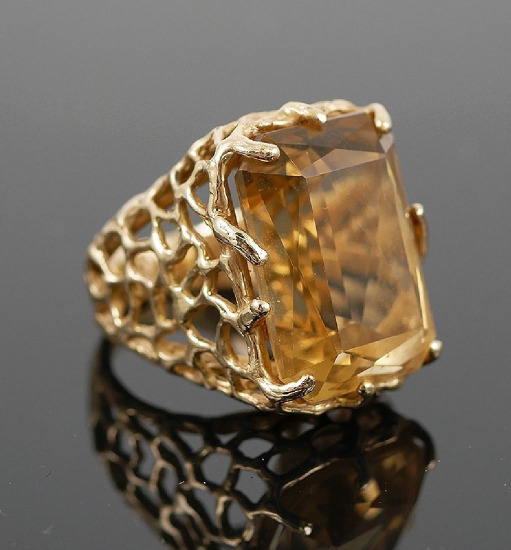 14k Yellow Gold Citrine Ring - 2