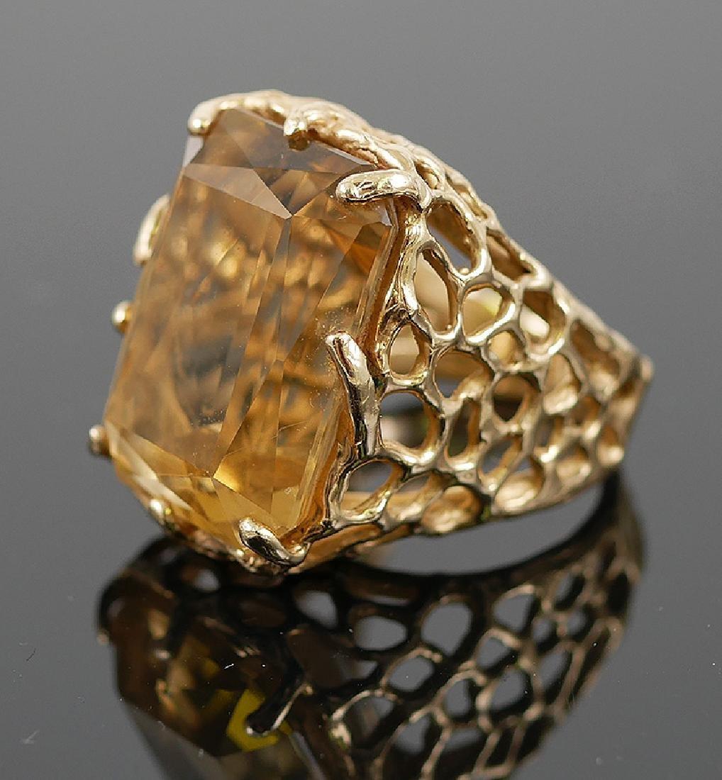 14k Yellow Gold Citrine Ring - 4