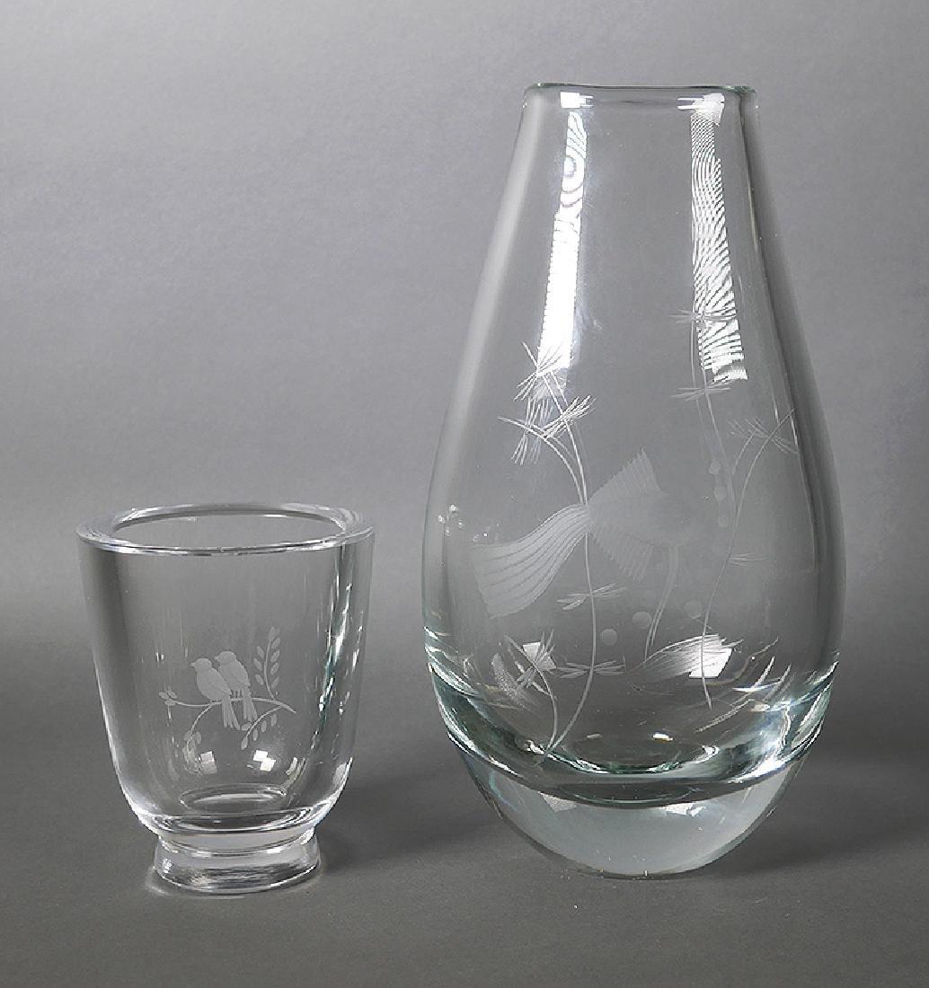 Kosta Boda Swedish Etched Art Glass Vases