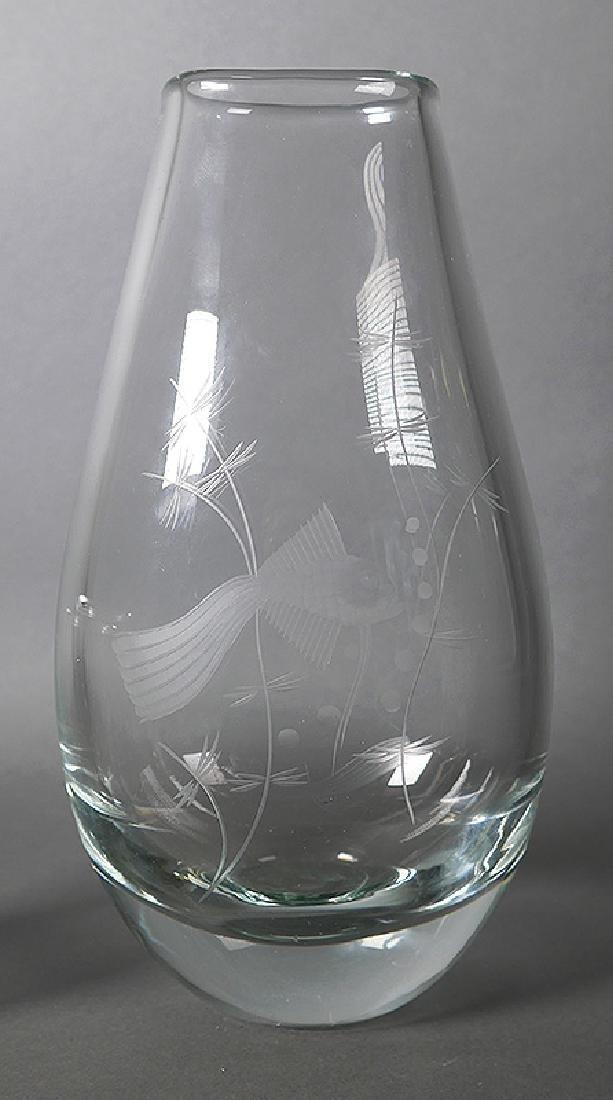 Kosta Boda Swedish Etched Art Glass Vases - 2