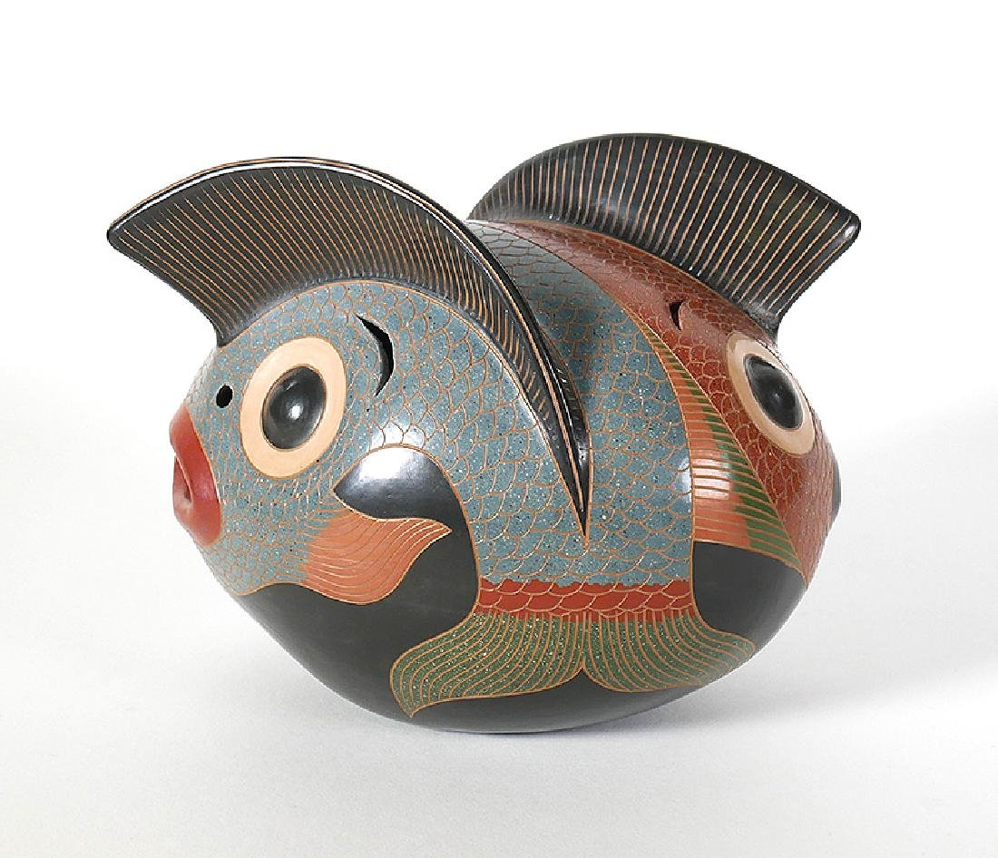 Enmanuel Maldonado Pottery Stylized 2-Headed Fish