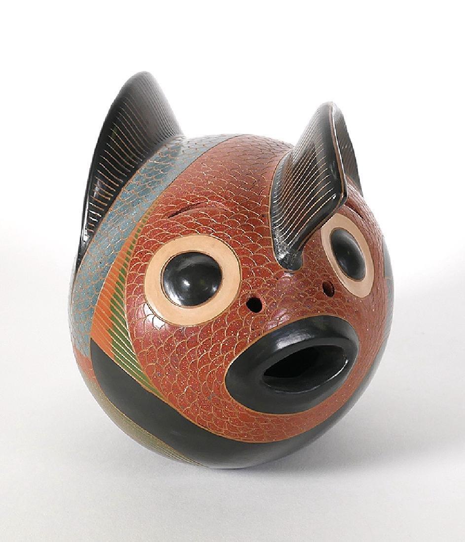 Enmanuel Maldonado Pottery Stylized 2-Headed Fish - 2
