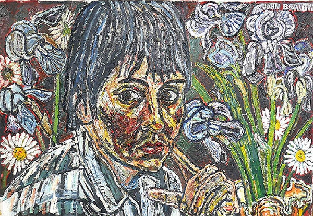 "John Bratby ""Gloria & Irises"" Painting on Canvas"