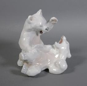 Royal Copenhagen Polar Bear Cubs Playing Figurine