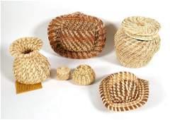 Six Native American Yucca & Sweetgrass Baskets