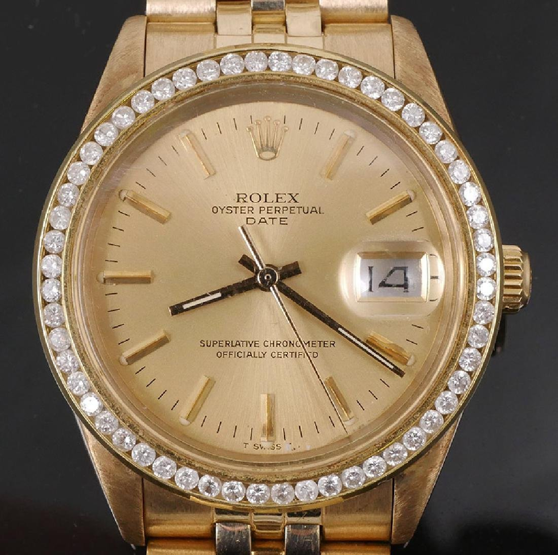 Rolex Oyster Perpetual Date 14k Gold & Diamonds