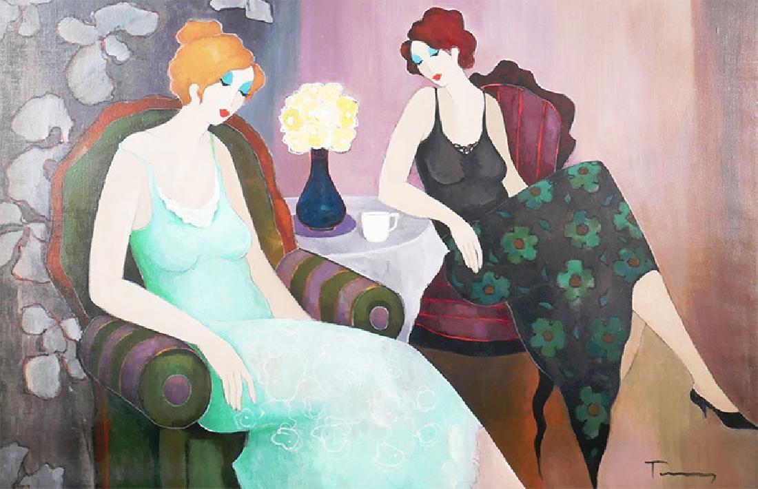 """Itzchak Tarkay """"Reflection"""" Painting on Canvas"""