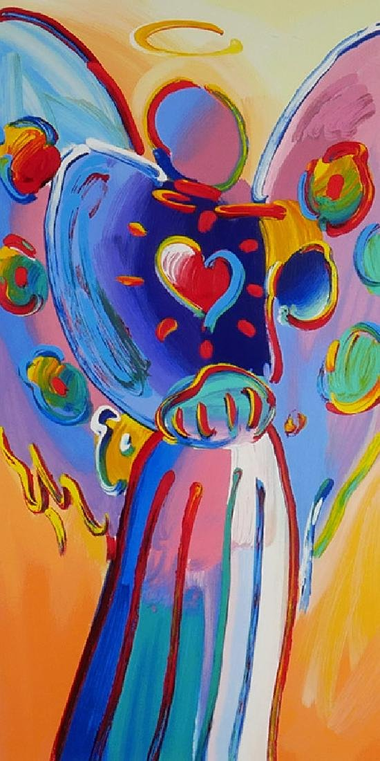 """Peter Max """"Angel with Heart"""" HC Signed Serigraph"""