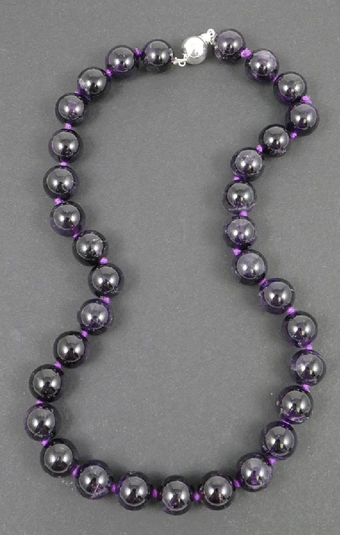 "Ladies Amethyst Beads 18"" Necklace"