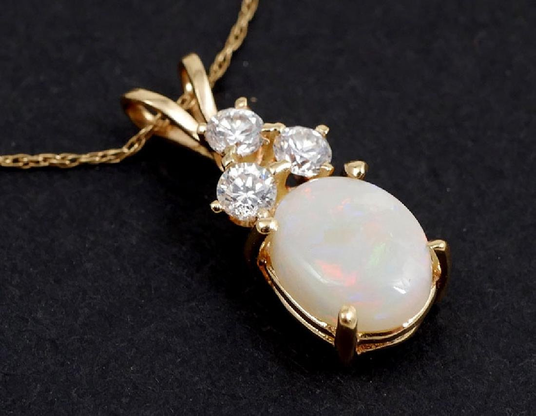14K Gold Opal and CZ Pendant Necklace - 2