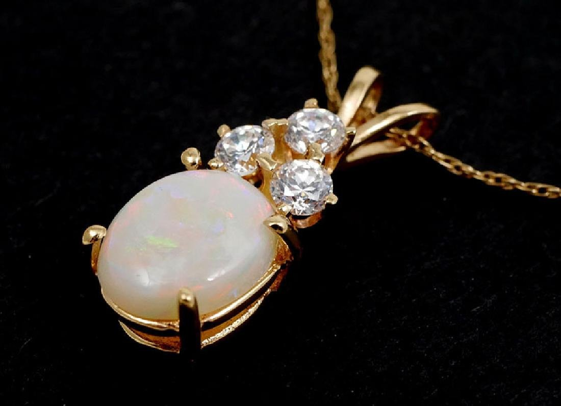 14K Gold Opal and CZ Pendant Necklace - 3