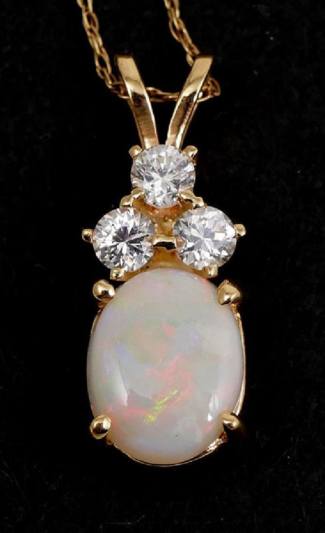 14K Gold Opal and CZ Pendant Necklace - 5