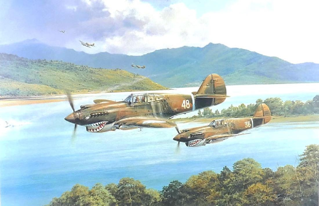 Robert Taylor Flying Tigers Print signed by Pilots - 2