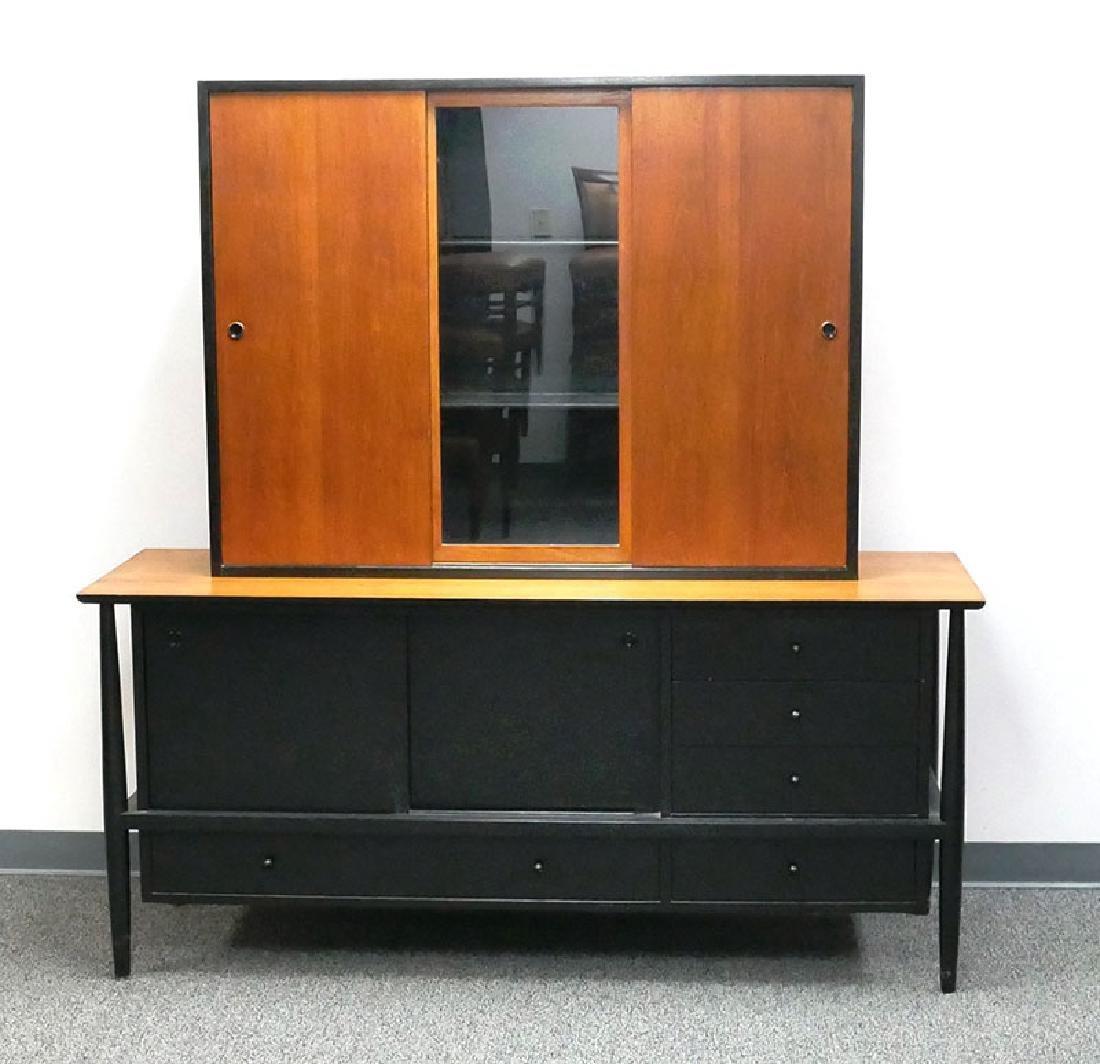 Vintage MCM Walnut Sideboard & Cabinet John Stuart