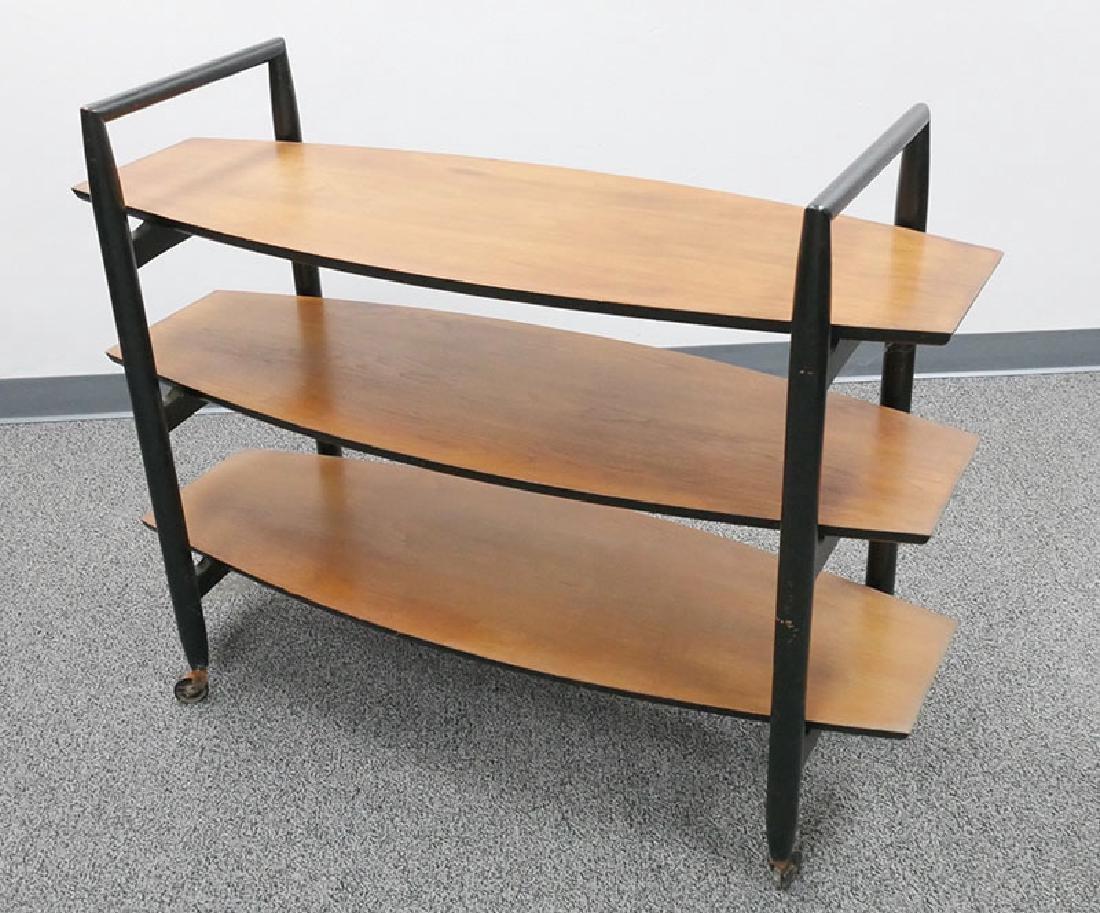 Vintage MCM Walnut Floating Shelf Bar Cart - 2