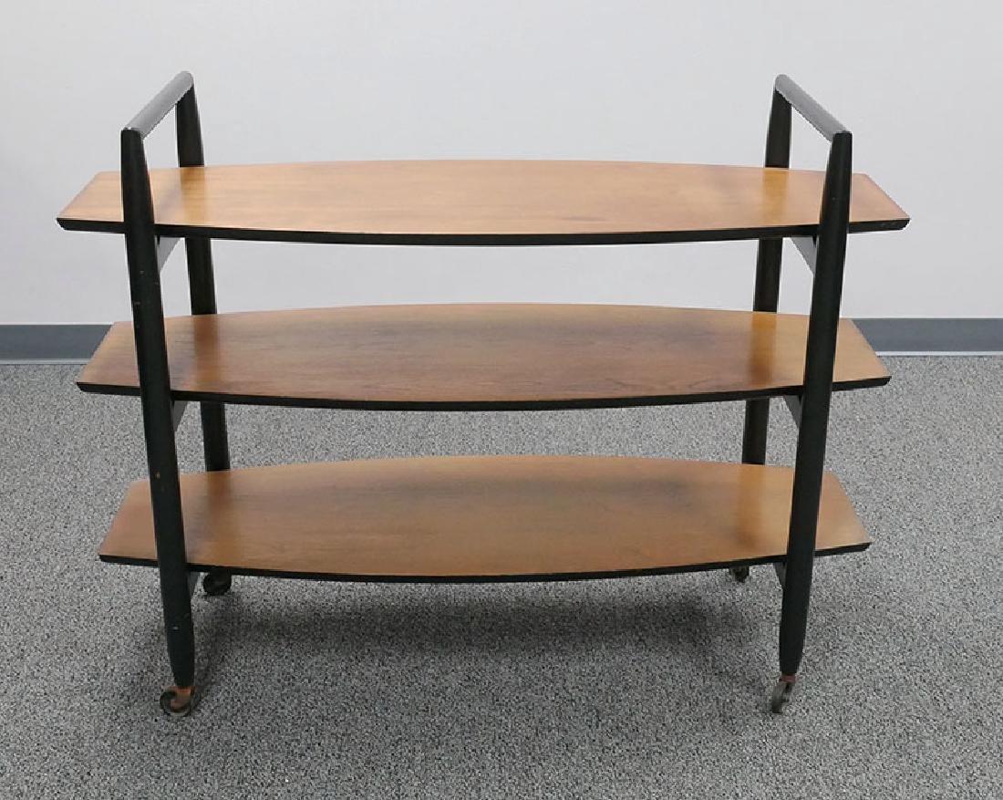 Vintage MCM Walnut Floating Shelf Bar Cart - 3