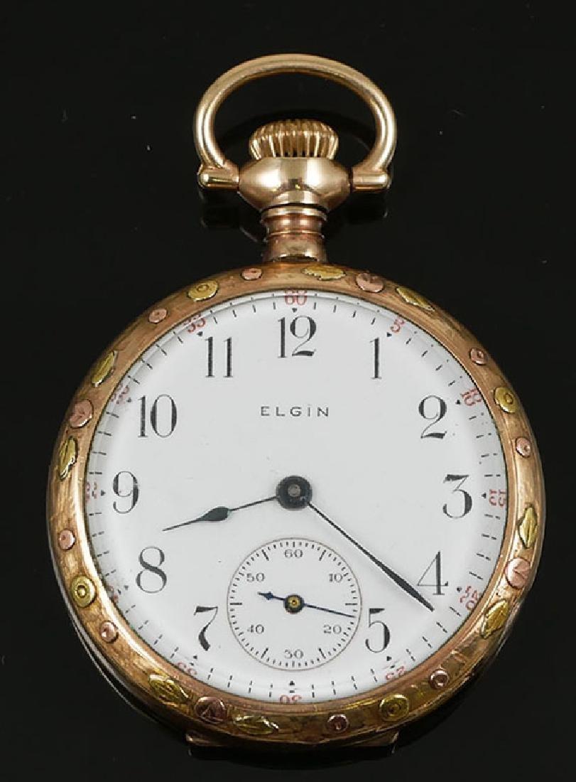 Vintage Multi Colored Gold Elgin 6 Size Pocket Watch