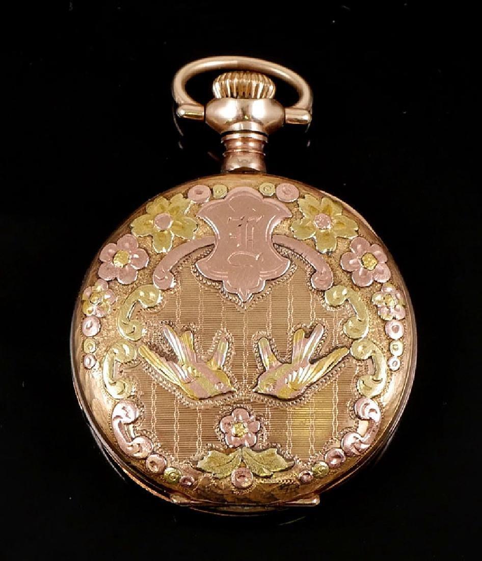 Vintage Multi Colored Gold Elgin 6 Size Pocket Watch - 2