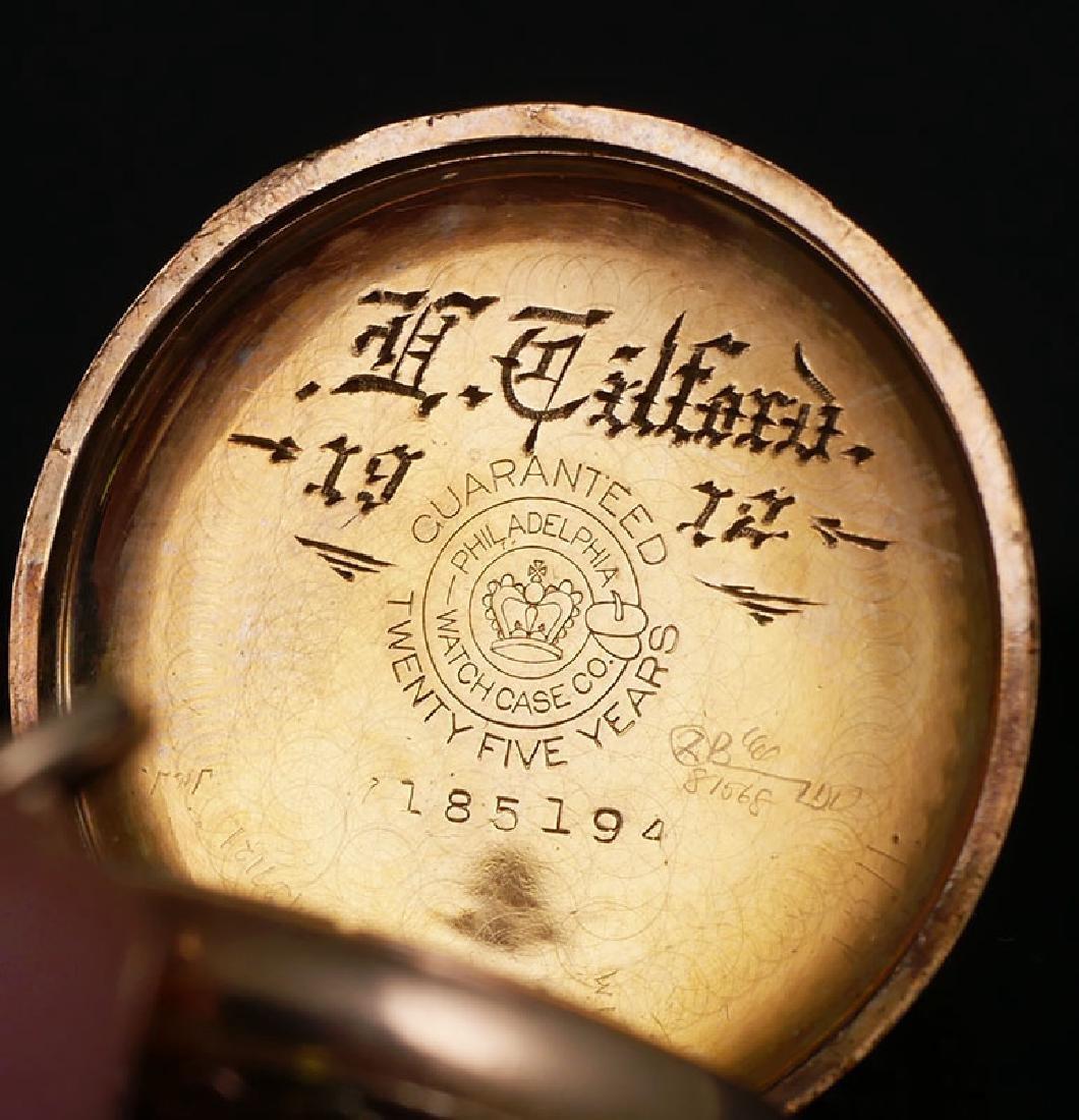 Vintage Multi Colored Gold Elgin 6 Size Pocket Watch - 3