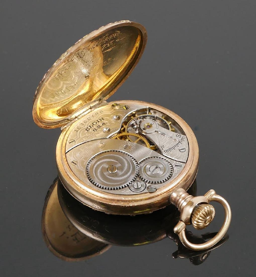 Vintage Multi Colored Gold Elgin 6 Size Pocket Watch - 4