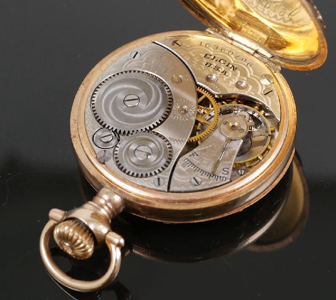 Vintage Multi Colored Gold Elgin 6 Size Pocket Watch - 5