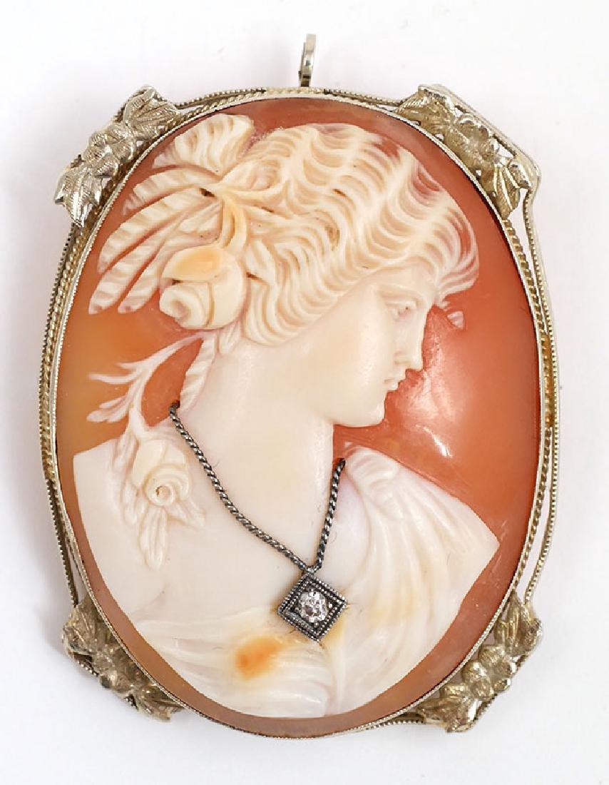 Vintage 14K White Gold Cameo Brooch Pendant