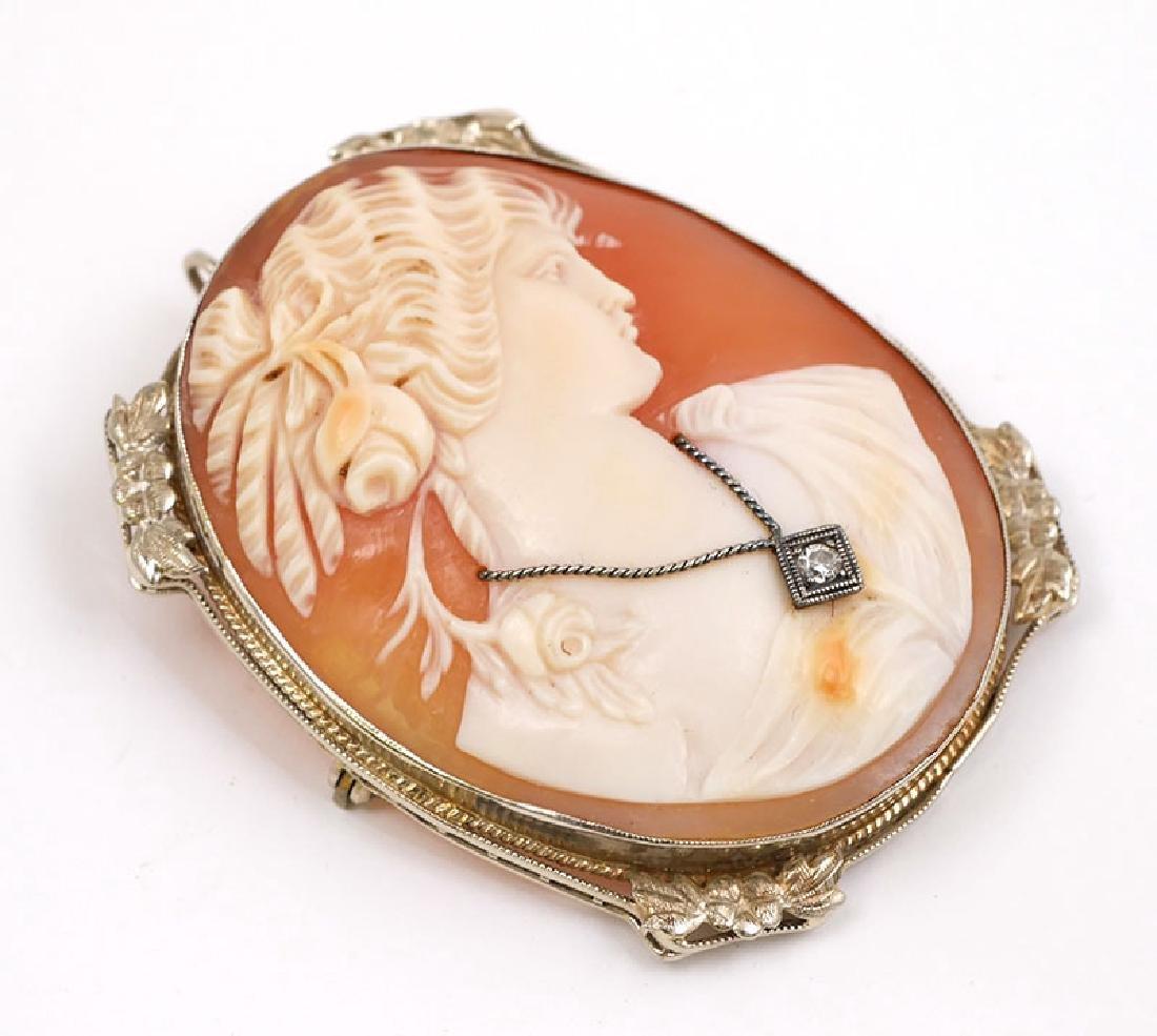 Vintage 14K White Gold Cameo Brooch Pendant - 3