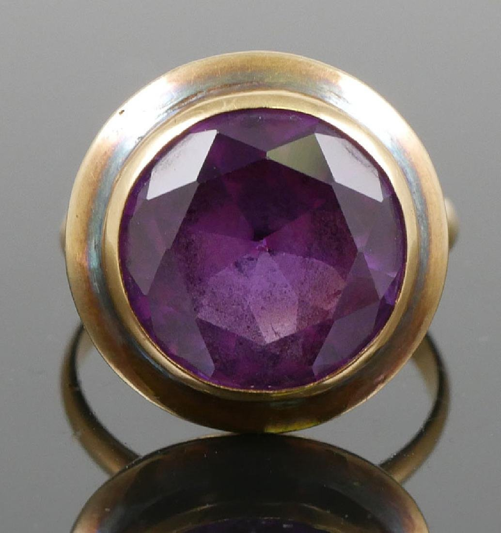Vintage 18K Gold and Blue Round Sapphire - 2