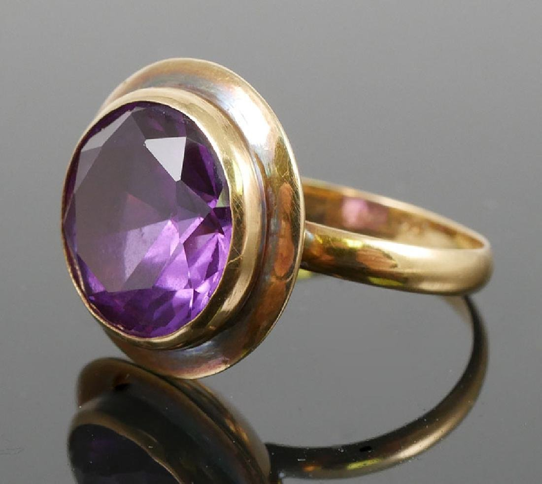 Vintage 18K Gold and Blue Round Sapphire - 3
