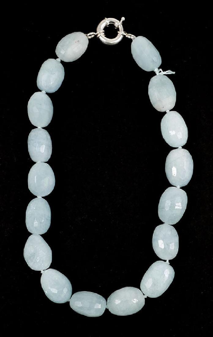 """Ladies Aquamarine Bead Necklace 18-1/2"""""""