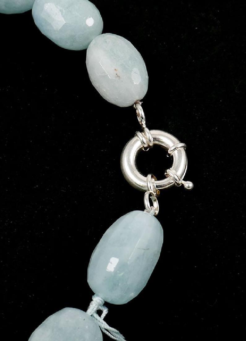 """Ladies Aquamarine Bead Necklace 18-1/2"""" - 4"""