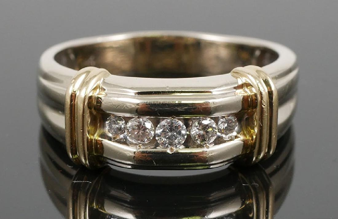 14K Diamond Yellow and White Gold Ring .2ct 7.3g