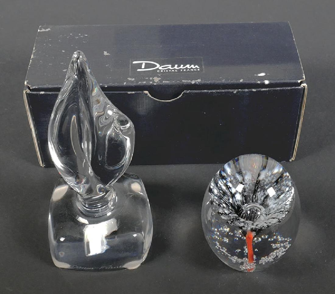 Two Daum France Crystal Paperweights