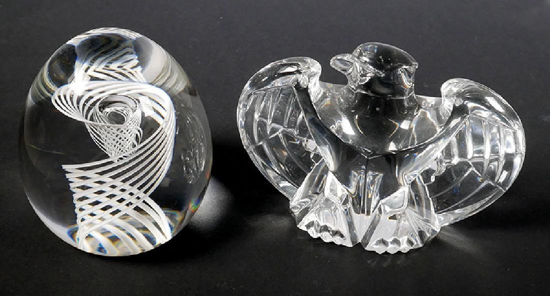 Two Steuben Crystal Paperweights Swirl & Eagle