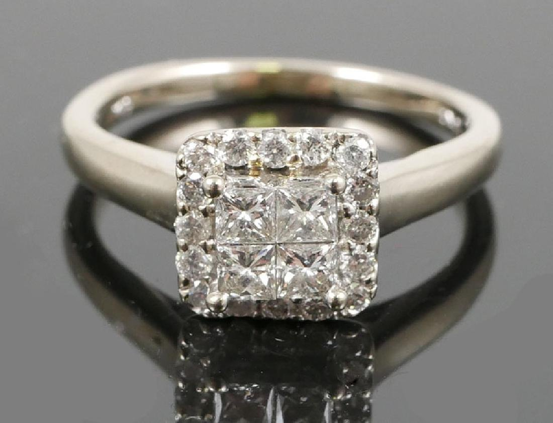 10K White Gold .75ct Princess Set Diamond Ring