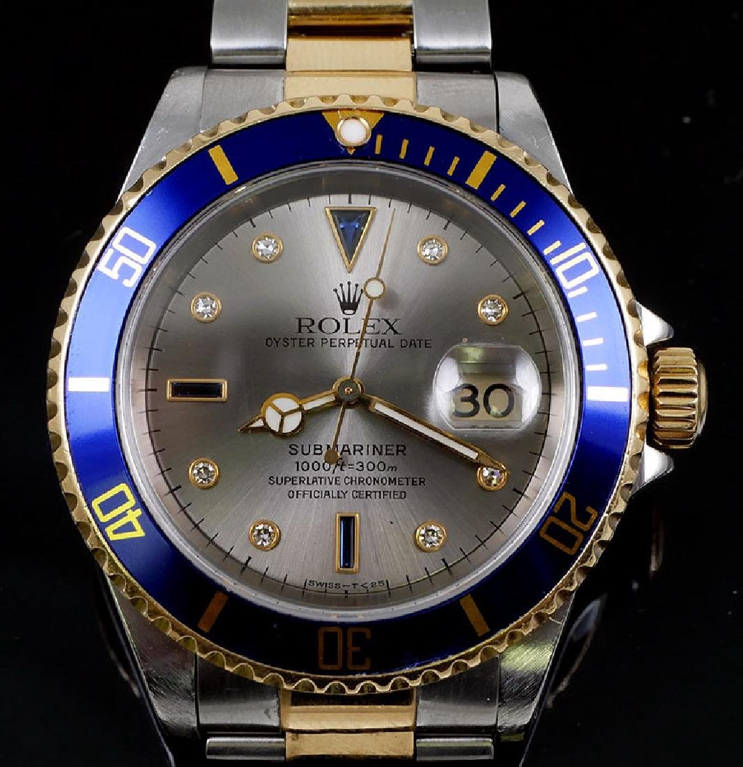 18K & Stainless Rolex Submariner Serti Diamond Dial