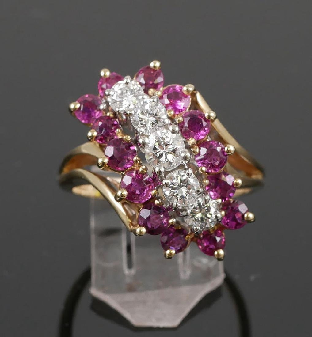 14K Yellow Gold Ruby and Diamond Cocktail Ring