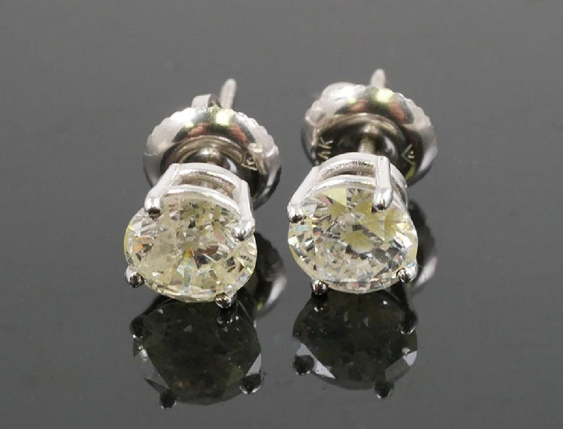 14K White Gold Diamond Solitaire Earrings 1.49ct