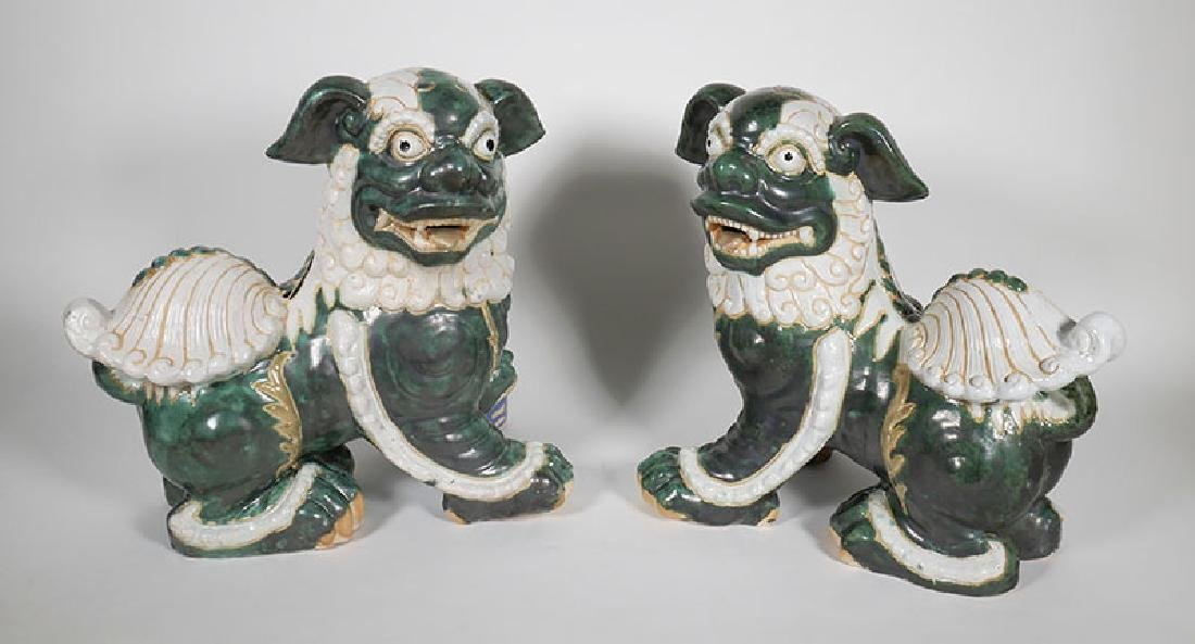 Pair of Large Glazed Chinese Foo Lion Dog Statues